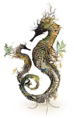 Ornate Birds And Sea Creatures Spring To Life With Environmental Embellishments Of Flowers And Foliage – Artist Ellen Jewett continues to create sculptures of… Animal Sculptures, Sculpture Art, Metal Sculptures, Abstract Sculpture, Bronze Sculpture, Fantasy Creatures, Sea Creatures, Ellen Jewett, Seahorse Art