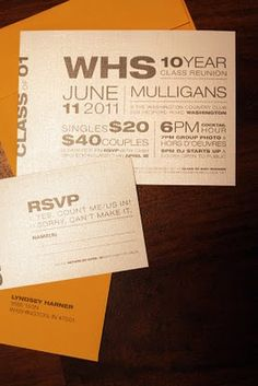Invite idea Reunion Invitations, Invites, 10 Year Reunion, Invitation Design, Invitation Ideas, 10 Years, Fundraising, Rsvp, Graphic Design