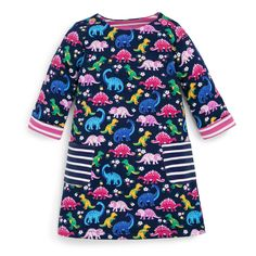 Cheerful prints are a great way to add colour to little girls' wardrobes. Our popular dinosaur print features all over this easy wear A-line dress for a smart casual look. Smart Casual, Casual Looks, Girl Dinosaur, Easy Wear, Fashion Kids, Flare Skirt, Cotton Dresses, My Girl, Infant Toddler