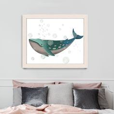 Beach house decor - Whale Bubbles 2 - Whale illustration Canvas painting Whale art Nautical decor Canvas art for kids Ocean print Uk shop