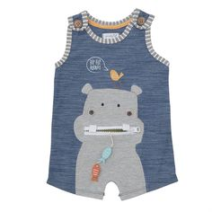 Cotton slub sleeveless romper features contrast binding, wood buttons at shoulder tabs and zipper-mouth hippo applique with felt, embroidered and button details. Inner leg snap closure.