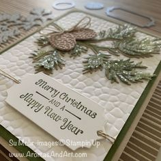 Beautiful Boughs With Shimmery Crystal Effects & Ice – Aromas and Art – 2020 Merry Christmas Stamped Christmas Cards, Christmas Paper Crafts, Stampin Up Christmas, Christmas Tag, Xmas Cards, Holiday Cards, Handmade Christmas, Stamping Up Cards, Rubber Stamping