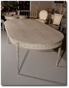 Outstanding Painted Swedish Oval Top Dining Table