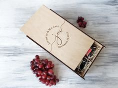 Double Wine Box, Valentines Gift, Custom Wine Box, Wedding Gift, 5th Anniversary Gift, Gift for Couple, Wooden Wine Box, 2 Bottles Wine Box A beautiful wine box for 2 bottles made of natural wood with custom personal engraving will please the couple on their wedding day and will be