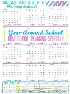 2014 Physical Year Around Homeschool Schedule CP1 My Free 7 Step Homeschool Planner Update