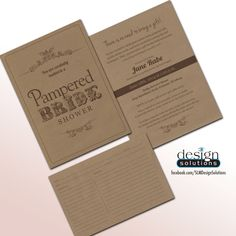 Unique Pampered Chef Bridal Shower Invitations with Recipe Card. Custom designs and more affordable then DYI websites. Like on - FB/SLMDesignSolutions  #PamperedChef #PamperedBride #BridalShower #KraftPaper #Rustic