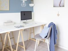 The Office, Office Desk, Peach Bedroom, Living Room Green, Corner Desk, Furniture, Home Decor, Lounge Chairs, Corner Table
