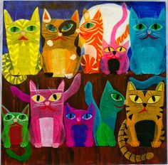 LOVE THIS!! 10 Cats on a Fence by EyeFullofColor