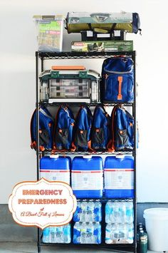 Emergency Preparedness Survival Station via A Bowl Full of Lemons #72hourkit #emergencypreparedness
