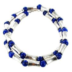 Beaded Silvertone Bones & Lapis Lapis Lazuli Mens Necklace - Timeless Treasures - Free gift bag with each purchase