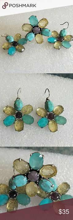 Lucky brand earrings and ring Semi precious stones lucky brand set of earrings and ring (adjustable) Lucky Brand Jewelry Earrings