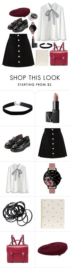 """Back to school Black Pink inspired // Jisoo"" by berrie95 on Polyvore featuring Miss Selfridge, NARS Cosmetics, HOTBOOM, AG Adriano Goldschmied, Chicwish, Olivia Burton, H&M, Sugar Paper, The Cambridge Satchel Company and MANGO"