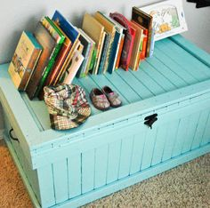 DIY toy chest. Im going to do this for my son is his Red Tractor room but of course it will be red