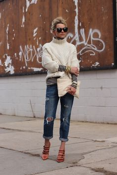 Hard to say what I like more: the striped turtleneck, the cozy sweater, or the bracelet stack.