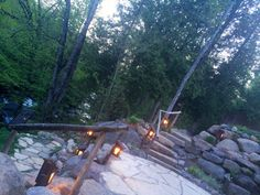 Our backyard is situated right in the heart of nature with the river flowing in front of it. It's a dreamy sight, especially in the evening. Come book your stay with us in the Laurentians. Backyard, Patio, In The Heart, Spa, River, Book, Outdoor Decor, Nature, Yard