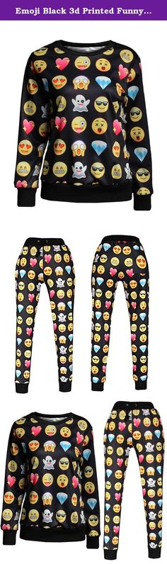 """Emoji Black 3d Printed Funny Shirt Emoticons Sweatpants/shirt/suit Joggers (Large). 100% Brand New,Material: Cotton Blend. Popular pattern Printing, two side printed, clear and fastness. """"FOLLOWUS"""" has registered US Trademark """"FOLLOWUS"""",Reg.No.87078086. This item is only provided by FOLLOWUS, and did not authorize any second stores to sell our items. FOLLOWUS only gurantee our quality, we do not guarantee the quality of other sellers. Perfect for casual, Sport, jogging, shopping, travel..."""