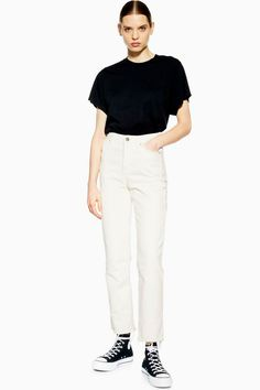 **Straight Slim Jeans by Boutique - Jeans - Clothing - Topshop Slim Jeans, Cropped Jeans, Topshop Boutique, Boutique Homes, Topshop Outfit, White Denim, Jean Outfits, New Day, Boutique Clothing