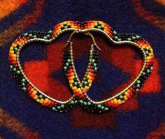 Navajo-Native-American-Beaded-Black-Heart-Big-Hoop-New-2-1-8-Wide-Earrings