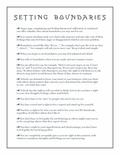 On setting boundaries... I tend to feel guilty about hurting people's feelings, but everyone deserves to feel love and respected, including oneself. There's a lot of good bits in here.