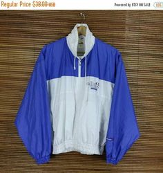 ELLESSE Windbreaker Jacket Large White Blue Vintage 1990's