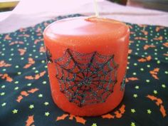 Spider Web Orange Halloween Candle by monkmama54 for $5.50