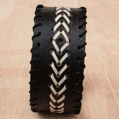 Mens Black Leather Cuff with Chevron | Buy it here: http://www.artisansintheandes.com/beaded-bracelets-leather-ladies/mens-leather-bracelets-cuff-braided/leather-bracelets-black-cuff-mens-chevron