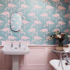 3 Marvelous Cool Tips: Shabby Chic Home Colour Schemes shabby chic dining country style.Vintage Shabby Chic Diy shabby chic living room on a budget. Baños Shabby Chic, Shabby Chic Living Room, Shabby Chic Homes, Flamingo Wallpaper, Bathroom Wallpaper, Bird Wallpaper, Wallpaper Carousel, Turquoise Wallpaper, Chic Wallpaper