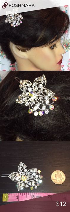 New crystal flower hair piece prom wedding Beautiful Flower silver with sparkling crystal  hair piece. Gorgeous statement piece prefect for any special occasion. Pictures do not do it justice. Accessories Hair Accessories
