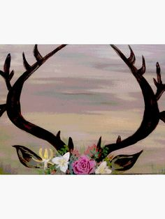 Deer antlers with flowers. Deer laying in the grass. Indian Paintbrush, Deer Antlers, Off Colour, Box Frames, Paint Brushes, Framed Art Prints, Bees, Grass, Print Design