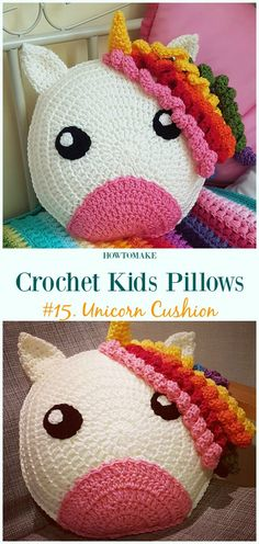 Crochet Unicorn Cushion Free Pattern -Fun #Crochet Kids #Pillows Free Patterns