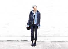 Denim on Denim on Denim. Raw Hem and Military Embellishments.   Military Jacket | Free People T-Shirt | Free People Raw-Hem Jeans | Abercrombie Boots | Free People Choker | Buffalo Exchange  Love this Street Style look? Find more inspiration at WeTheBirds.com