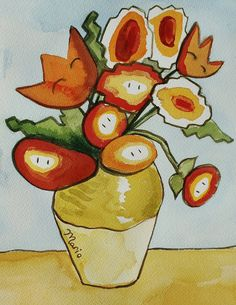 """Fireflowers - Based on Vincent Van Gogh's """"Sunflowers""""  Created by Laura Best"""