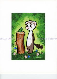 """Art by Shelly Mundel. Ferret People  """" Hello Green Thing""""  5x7 inch!. #OutsiderArt"""