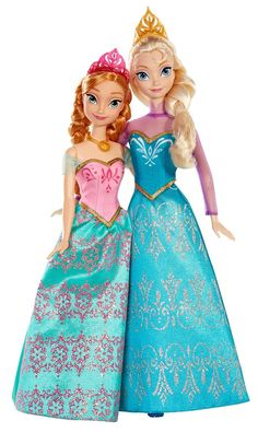 Inspired by the hit Disney animated film, Frozen Re-create unforgettable movie moments from Frozen with elegant Anna and Elsa fashion dolls Each wears a shimmering fashion and crown inspired by the fi