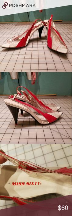 Miss Sixty clear lightning bolt heels Miss Sixty clear lightning bolt heels, size 39. Runs small, fits more like an 8. Worn only a few times. Comes from a smoke free and pet free home. Miss Sixty Shoes Heels
