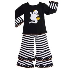 AnnLoren Girls' Halloween Ghost Shirt and Striped Pants Outfit | Overstock.com Shopping - The Best Deals on Girls' Sets