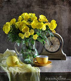 Still Life With Yellow Flowers Stock Images - Image: 15344954