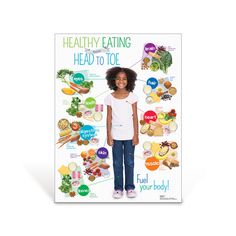 Kids Health Kids Healthy Eating from Head to Toe Poster Healthy Food Choices, Heart Healthy Recipes, Healthy Eating Tips, Healthy Foods To Eat, Healthy Kids, Clean Eating Snacks, Healthy Living, Healthy Eating Posters, Healthy Heart