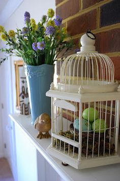 Easter or Spring Mantel decorations