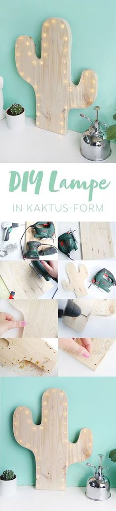 Kreative DIY-Idee zum Selbermachen: Kaktus-Lampe selbstgemacht mit LEDs und Kief… Creative DIY idea to make yourself: Cactus lamp homemade with LEDs and pine wood DIY Guide Diy Kids Room, Diy For Kids, Diy Tumblr, Cactus Lamp, Cactus Cactus, Creation Deco, Idee Diy, Diy Blog, Diy Décoration