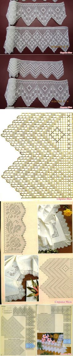 This Pin was discovered by Leï Crochet Border Patterns, Crochet Lace Edging, Crochet Diagram, Tatting Patterns, Crochet Chart, Crochet Squares, Crochet Trim, Crochet Doilies, Crochet Curtains