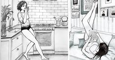 """Mexico-based artist Idalia Candelas draws women who are content to be alone. Using pencil, ink, and watercolor, """"Postmodern Loneliness"""" is a series that celebrates being single. Candelas says she was inspired by her time living alone in Mexico City."""