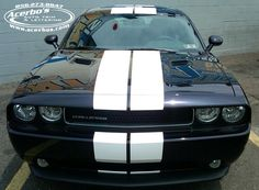 Black Dodge Challenger with White Racing Stripe Graphics ~ Acerbo's Auto Trim & Lettering (www.acerbos.com)