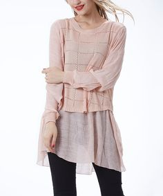 Simply Couture Pink Windowpane-Crochet Layered Tunic by Simply Couture #zulily #zulilyfinds