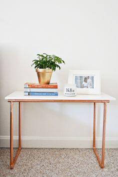 DIY / Hazlo tú mismo: tutorial para crear una mesa auxiliar de marmol y cobre. #DIYconCobre