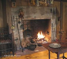 photo of primitive homes inside cave Primitive Fireplace, Cosy Fireplace, Primitive Homes, Fireplace Wall, Rustic Farmhouse Decor, Country Decor, Country Homes, Cottage In The Woods, Hearth And Home