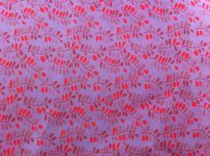 Coupon tissus coton, motif branche fleur, fonc blanc motif rose et corail fluo 75cm x 150cm