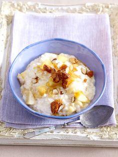 So gut: Vanille-Milchreis mit Äpfeln und Mandeln
