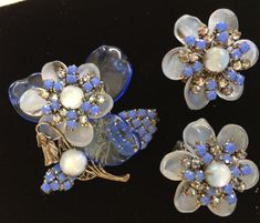 Lovely Vintage Miriam Haskell Brooch & Earring Set-Pate de Verre Glass/Rhinestones~Signed