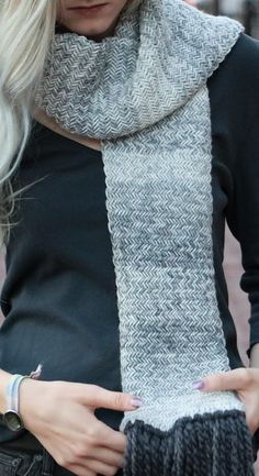 Free Knitting Pattern for Herringbone Scarf - Cozy scarf knit in herringbone stitch with instructions on how to keep edges from curling. Designed by Kaitlin Blasing